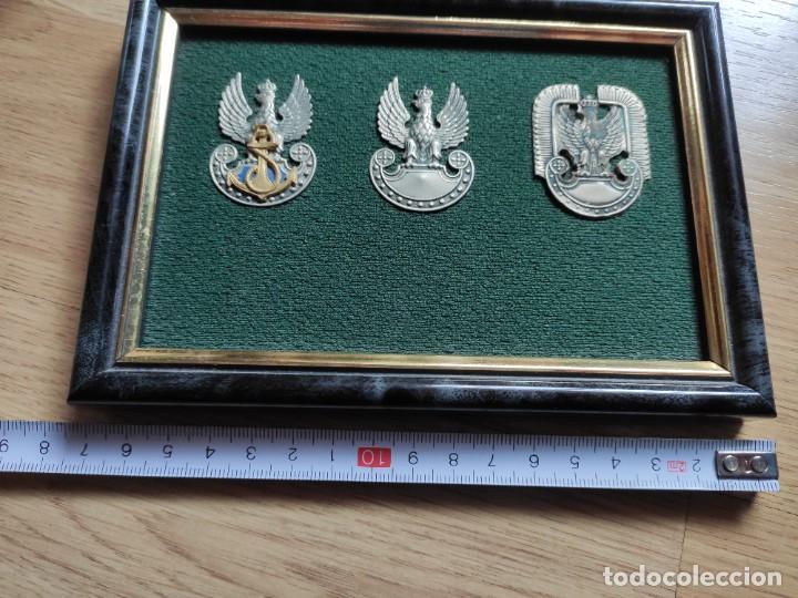Militaria: CUADRO CON TRES INSIGNIAS POLACAS, TIERRA MAR Y AIRE, SON ESCUDOS DE GORRA - Foto 2 - 197211547