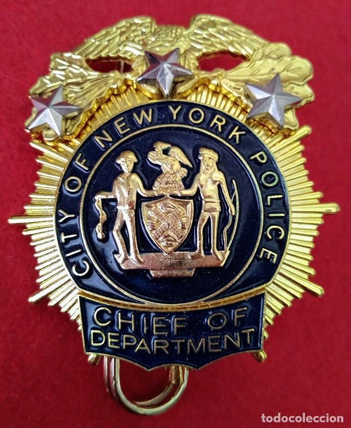 INSIGNIA PLACA DE POLICIA AMERICANA JEFE DE LOS DETECTIVES DE CITY OF NEW YORK POLICE DEPARTMENT (Militar - Insignias Militares Extranjeras y Pins)