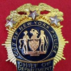 Militaria: INSIGNIA PLACA DE POLICIA AMERICANA JEFE DE LOS DETECTIVES DE CITY OF NEW YORK POLICE DEPARTMENT. Lote 197279768