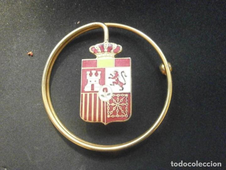 Militaria: Billetero Porta billetes anilla metálica dorada escudo de España esmaltado 5,5 cm. diámetro - Foto 3 - 25545777