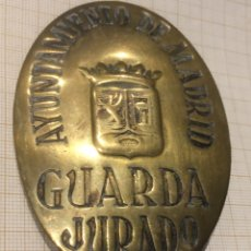 Militaria: PLACA AYUNTAMIENTO DE MADRID GUARDA JURADO. Lote 203929913