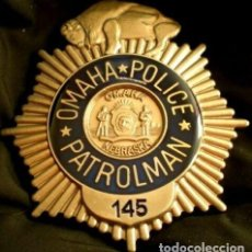 Militaria: INSIGNIA PLACA DE POLICIA AMERICANA PATROLMAN Nº145 PATRULLA DE CARRETERAS DE OMAHA NEBRASKA. Lote 205250010