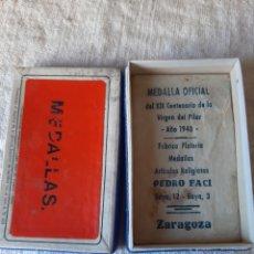 Militaria: CAJA PARA MEDALLA OFICIAL VIRGEN PILAR 1940 PEDRO FACI ZARAGOZA. Lote 205574015