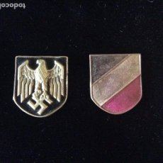 Militaria: INSIGNIAS CASCO HEER III REICH. SEGURAMENTE PARA SALACOT AFRIKA KORPS. ORIGINALES.. Lote 205701123