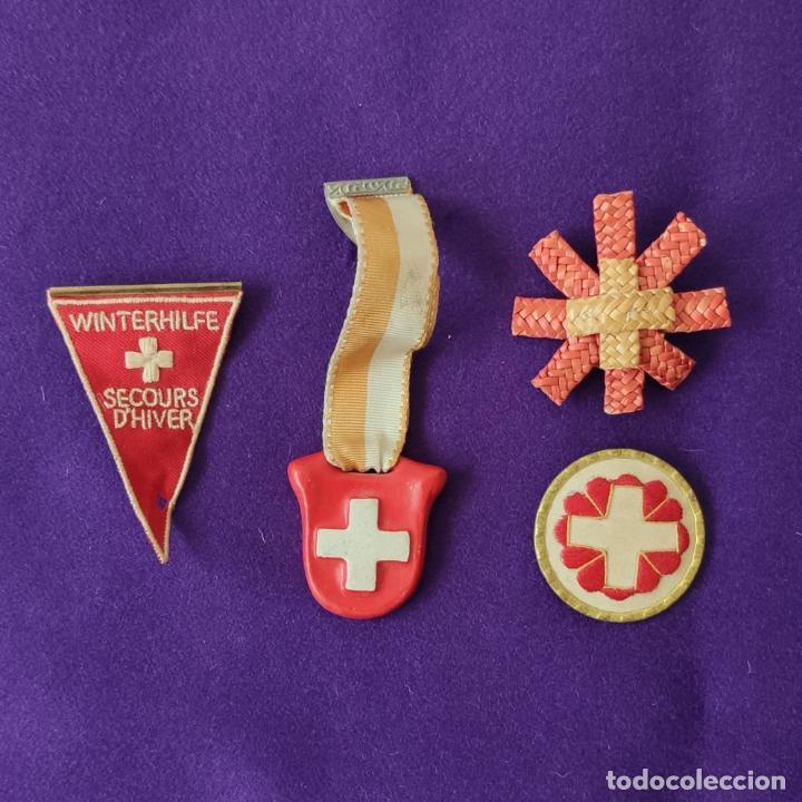 4 MEDALLAS DE AUXILIO DE SOCORRO DE INVIERNO. WINTERHILFE SECOURS D´HIVER. SUIZA. 1939-40-43. (Militar - Insignias Militares Internacionales y Pins)