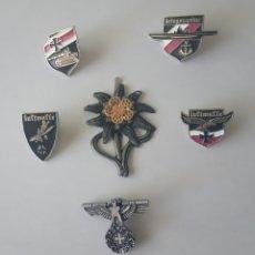 Militaria: COLECCIÓN 6 PINS EJÉRCITO ALEMÁN LUFTWAFFE KRIEGSMARINE ÁGUILA TANQUE FLOR EDELWEISS. GUERRA MUNDIAL. Lote 210798539