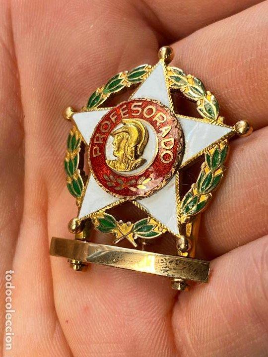 Militaria: Insignia de PROFESORADO MILITAR con barras bañada en oro - Impecable y bella factura - Foto 2 - 212300440