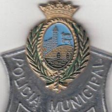 Militaria: PLACA GORRA DE PLATO: POLICIA MUNICIPAL BILBAO AÑOS 60. Lote 215708903