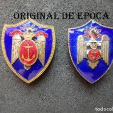 Militaria: (JX-200967)DOS EMBLEMAS DE LA MARINA ESPAÑOLA,MILICIAS UNIVERSITARIAS S.E.U.. Lote 218599552