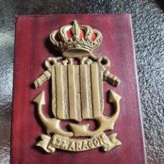 Militaria: METOPA DEL BUQUE ESPAÑOL. L22. ARAGONÉS. BRONCE SOBRÉ MADERA. Lote 223218492