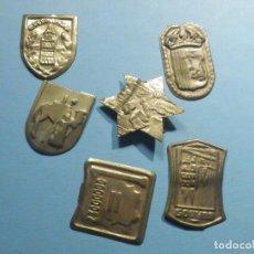 Militaria: 6 EMBLEMAS METÁLICOS DE AUXILIO SOCIAL - SIN PESTAÑAS - SEGÚN SE MUESTRAN. Lote 243187355
