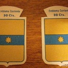 Militaria: 2 EMBLEMAS AUXILIO SOCIAL, CORRIENTES .SERIE B, Nº 75, PASAMONTE, CON Y SIN RELIEVE.. Lote 245121765