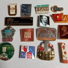 Militaria: LOTE 15 INSIGNIAS EMBLEMAS PINS DE BROCHE RUSIA URSS LENIN. Lote 261790235