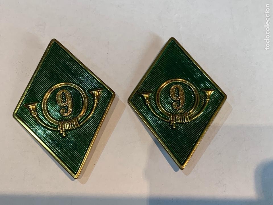 PAREJA DE ROMBOS DEL 9 REGIMIENTO DE MONTAÑA (Militar - Insignias Militares Españolas y Pins)