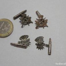 Militaria: 2 PAREJAS DE GEMELOS DE PLATA , MILITARES. INFANTERIA Y FALANGE, YUGO Y FLECHAS.. Lote 266096453