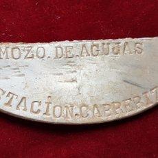 Militaria: RARISIMA PLACA MOZO DE AGUJAS ESTACION DE TREN APARTADERO DE CABRERIZAS. Lote 268295599