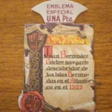 Militaria: EMBLEMA AUXILIO SOCIAL, ESPECIAL 1 PTS, SERIE F, Nº 4, JUAN BERMUDEZ. Lote 268984369