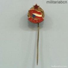 Militaria: REPÚBLICA SOCIALISTA DE CHECOSLOVAQUIA. INSIGNIA SOLAPA DE LA SCSP ASOCIACIÓN DE AMIGOS DE LA URSS. Lote 269360413