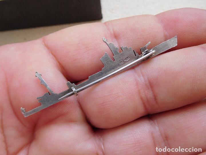 Militaria: Insignia antigua de plata barco de guerra F.L. - Foto 2 - 269805253