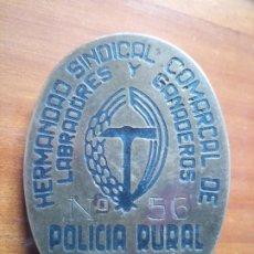 Militaria: CHAPA PLACA LABRADORES Y GANADEROS POLICÍA RURAL BURGOS FALANGE. Lote 270241363