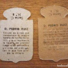 Militaria: 2 EMBLEMAS AUXILIO SOCIAL, CORRIENTES .SERIE C, Nº 8 PEDRO RUIZ, VARIANTE DE COLOR DEL CARTON.. Lote 278971733