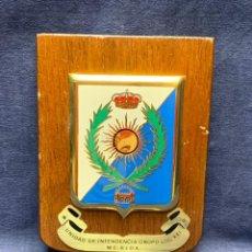 Militaria: PLACA UNIDAD INTENDENCIA GRUPO LOG XXI MERIDA 20X11,5CMS. Lote 294442803