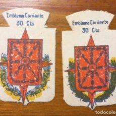 Militaria: 2 EMBLEMAS AUXILIO SOCIAL, CORRIENTES .SERIE B, Nº 318 NAVARRA, VARIANTE DE COLOR.. Lote 297376923