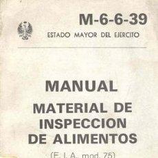 Militaria: MANUAL MATERIAL INSPECCION DE ALIMENTOS. Lote 26862692