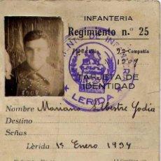 Militaria: TARJETA DE IDENTIDAD MILITAR DE UN SOLDADO DEL REGIMIENTO DE INFANTERÍA Nº 25. 1934.CON FOTOGRAFÍA. . Lote 3846071