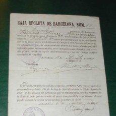 Militaria: NOTIFICACIÓN DE LA CAJA DE RECLUTAS DE BARCELONA, AGOSTO DE 1909. Lote 25981961