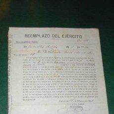 Militaria: NOTIFICACIÓN PARA LA TALLA DEL REEMPLAZO DEL EJÉRCITO, BARCELONA, 1909. Lote 6091143
