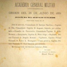 Militaria: AÑO 1891- ACADEMIA GENERAL MILITAR // HOJA ORDEN DE SERVICIO. Lote 22240257