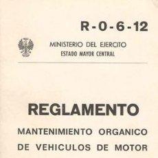 Militaria: MANTENIMIENTO DE VEHÍCULOS DE MOTOR. Lote 27215276