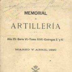 Militaria: 1920 MEMORIAL DE ARTILLERIA. Lote 25597881