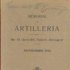 Militaria: NOVIEMBRE 1924 MEMORIAL ARTILLERIA. Lote 21311204