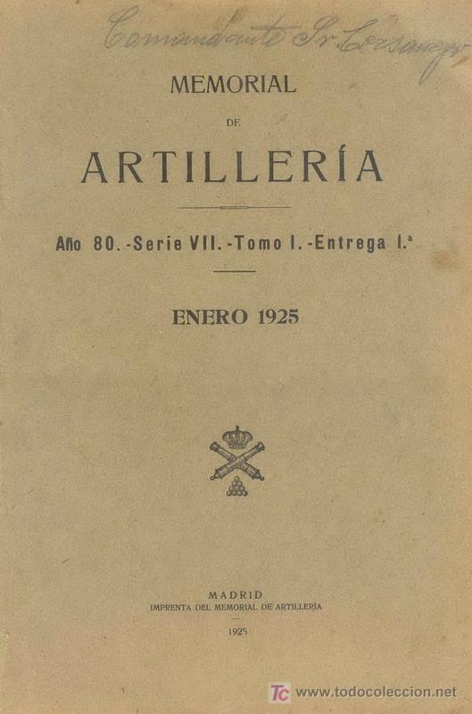 ENERO 1925 MEMORIAL DE ARTILLERIA (Militar - Libros y Literatura Militar)