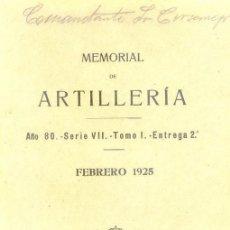 Militaria: FEBRERO 1925 MEMORIAL DE ARTILLERIA. Lote 22675591