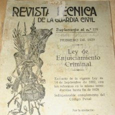 Militaria: 1929.- REVISTA TECNICA D ELA GUARDIA CIVIL. FEBRERO. LEY DE ENJUICIAMIENTO CRIMINAL. Lote 25940173