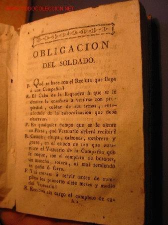 OBLIGACIÓN DEL SOLDADO , AÑO APROX 1780 (Militar - Libros y Literatura Militar)