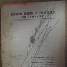 Militaria: REGLAMENTO DE ORGANIZACIÓN Y PREPARACIÓN DEL TERRENO PARA EL COMBATE, CON LÁMINAS, 1928. Lote 2882926