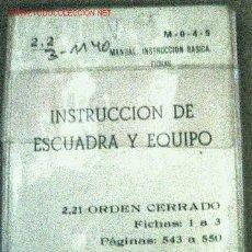 Militaria: FICHAS, INSTRUCCIÓN DE ESCUADRA Y EQUIPO. Lote 2917909