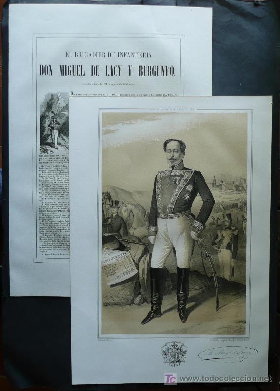 MILITAR BRIGADIER , MIGUEL DE LACY Y BURGUNYO , NATURAL DE ALICANTE , AÑO 1856 (Militar - Libros y Literatura Militar)