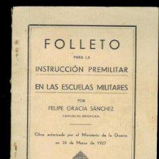 Militaria: FOLLETO PARA LA INSTRUCCIÓN PREMILITAR...1935.. Lote 12470626