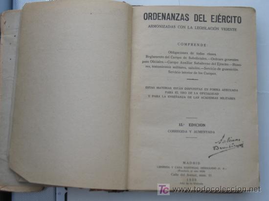GUERRA CIVIL, ORDENANZAS DEL EJERCITO NACIONAL 1939.VER MAS FOTOS. (Militar - Libros y Literatura Militar)