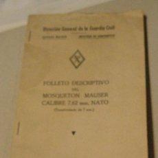 Militaria: MANUAL DEL MOSQUETÓN MAUSER CALIBRE 7'62, TRANSFORMADO DE 7 MM, 35 PÁG., CON ILUSTRACIONES. Lote 14065189