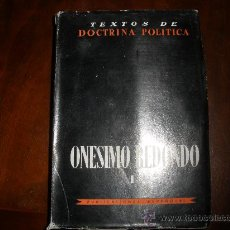 Militaria: ONESIMO REDONDO VOLUMEN1º-DOCTRINA POLITICA. Lote 275637948