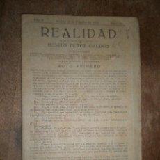 Militaria: OBRA, REALIDAD, ORIGINAL DE BENITO PÉREZ GALDÓS, 12 DE FEBRERO DE 1918. Lote 14989229