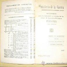 Militaria: 1933 REGLAMENTO PARA LA INSTRUCCION DE LAS TROPAS DE ZAPADORES-MINADORES PUENTES LIBRO 1º. Lote 28251113