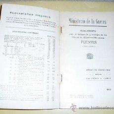 Militaria: 1933 REGLAMENTO PARA LA INSTRUCCION DE LAS TROPAS DE ZAPADORES-MINADORES PUENTES LIBRO 2º . Lote 26630107