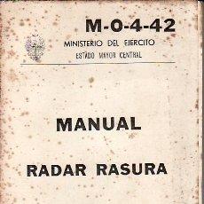 Militaria: MANUAL RADAR RASURA.SERVICIO GEOGRAFICO DEL EJERCITO. 1975. Lote 25072505